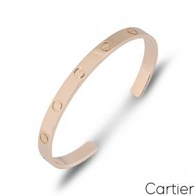 Cartier Rose Gold Plain Cuff Love Bracelet Size 19 B6032619